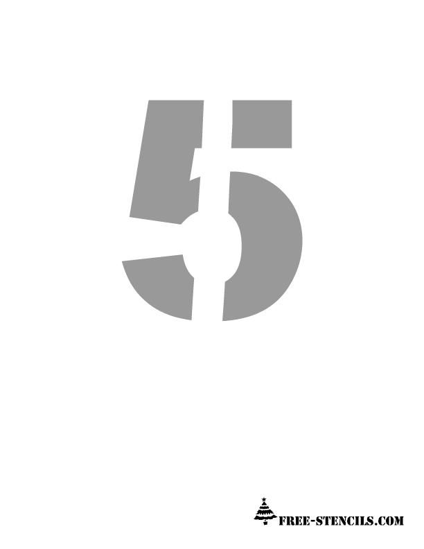 Number 5 Stencil Printable numbers stencils